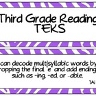 Third Grade Reading TEKS Cards