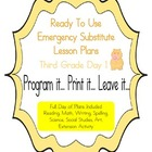 Third Grade Editable Substitute, Emergency Lesson Plans, R