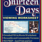 Thirteen Days Movie Viewing Worksheet -- Fill-in Activity