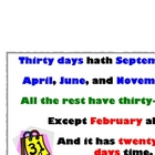 Thirty Days Hath September poem