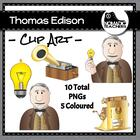 Thomas Edison and his inventions Clip Art - 10 PNGS