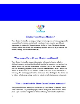 Three Graces Mentors Inc. Lil Sparkles Annual Lesson Plan