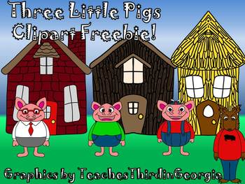 Three Little Pigs--Freebie Clip Art Set-Commercial Use