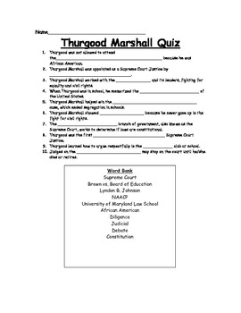 Thurgood Marshall Fill-in-the-Blank Quiz