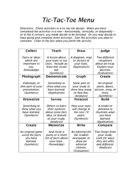 Tic Tac Toe Menu - Bloom's Taxonomy