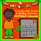 Tic Tac Toe Show What You Know Reading Workshop Editable Program