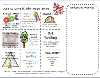 Tic-Tac-Toe Word Work