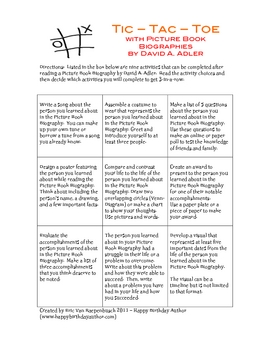 Tic-Tac-Toe with Picture Book Biographies by David A. Adler