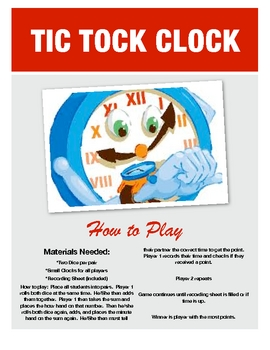 Tick Tock Clock - Telling Time Dice Game