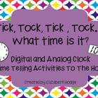 Tick Tock Time- Digital and Analog Clock Activities To The Hour
