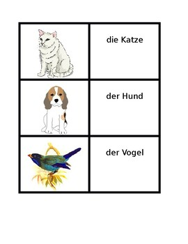 Tiere (Animals in German) Concentration Game