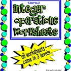 Tiered Integer Worksheets - all operations