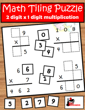 Tiling - 2 digit x 1 digit Multiplication Puzzle - FREE