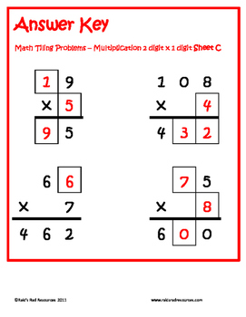 Tiling - 2 digit x 1 digit Multiplication Puzzles