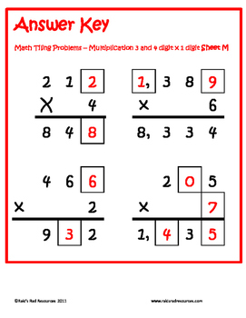Tiling - 3 and 4 digit x 1 digit Multiplication Puzzles