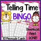 Time Bingo Game (30 Themed Pre-made Cards)