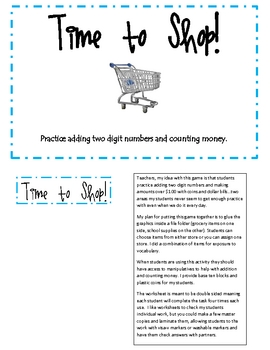 Time To Shop practice with addition and money