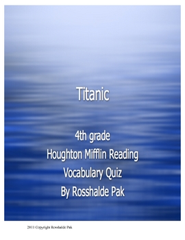 Titanic Vocabulary Quiz