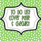 To Do List - Cover Page & Checklist Pages