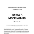 To Kill a Mockingbird Chapters 21-25 Study Guide Questions