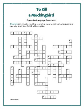 To Kill a Mockingbird: Figurative Language Crossword