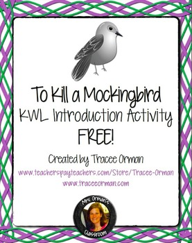 To Kill a Mockingbird Introduction Guided KWL Activity
