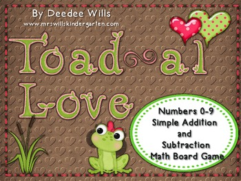 Toad-al Love! Numbers 0-9, Addition and  Subtraction Board Game