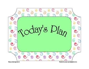 Today's Plan ~ A Day Schedule to post for students (Swirls)