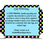 Today&#039;s Plan ~ A Day Schedule to post for students (polka dots)