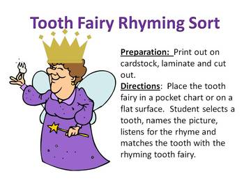 Tooth Fairy Rhyming Sort