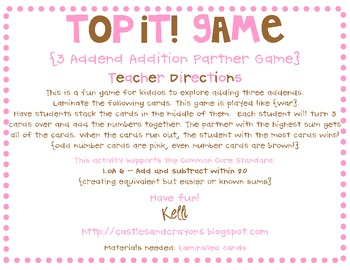 Top It! {3 Addend Addition Game} FREE