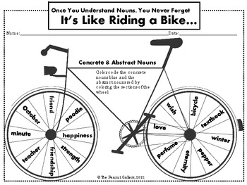 """Tour de Nouns"" Concrete and Abstract Nouns Coloring Activity"
