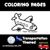 Transportation Themed Fine Motor Skills Coloring Pages for