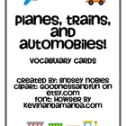 Transportation Vocabulary Cards