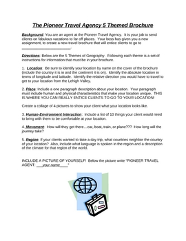 Travel Agency Brochure Project worksheet - 5 Themes of Geography