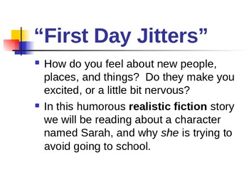 "Treasures Reading - ""First Day Jitters"" -  Vocabulary and"