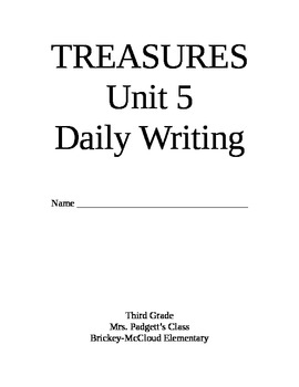 Treasures Reading Series Third Grade Writing Prompt Packet