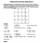 Trigonometry Identity Magic Square Activity
