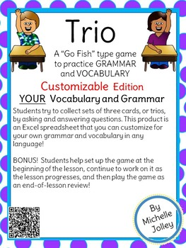 Trio Card Game -- Customizable!  Vocabulary and Grammar Practice