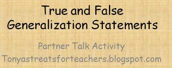True and False Generalization Statements-partner talk activity