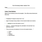 Tuck Everlasting Literary Analysis Test