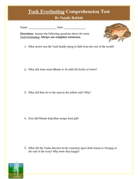 Tuck Everlasting Reading Test, Rubric, and ANSWER KEY