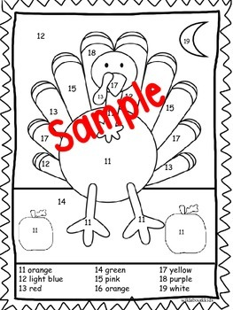 Turkey Color By Number and Story