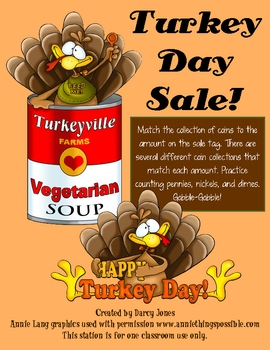 Turkey Day Sale! Counting Coins Station