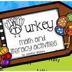 Turkey Math, Literacy and Art Activities