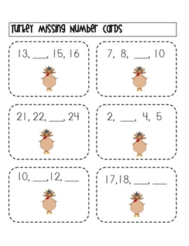 Turkey Missing Numbers Activity