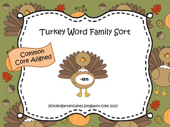FestiveFriday Turkey Short Vowel Word Family Sort