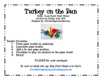 Turkey on the Run--Short Vowel Games