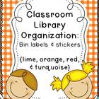 Turquoise, Red, Orange, &amp; Lime Classroom Library Organization