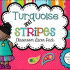 Turquoise and Stripes Classroom Decor Pack